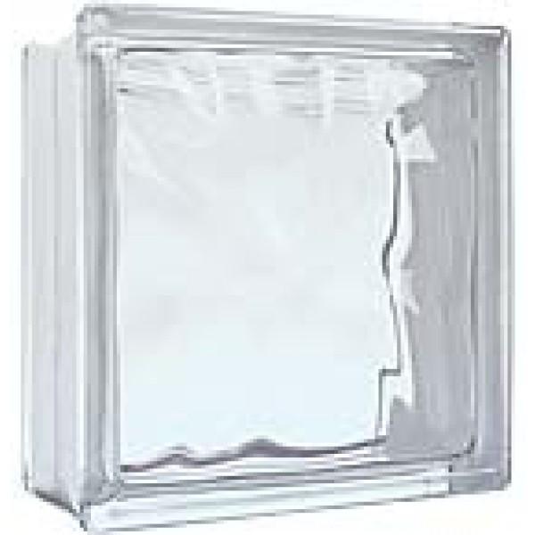 Bloco vidro ondulado transparente 19x19x8