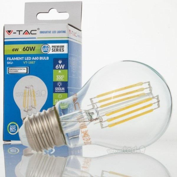 Lampada led a60 e27 6w 4500k 550lm 4303 filamento