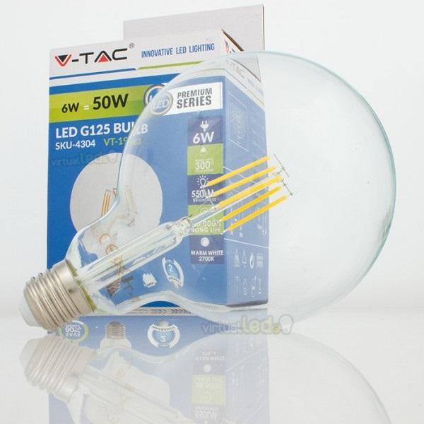 Lampada led g125 e27 6w 3000k 4304