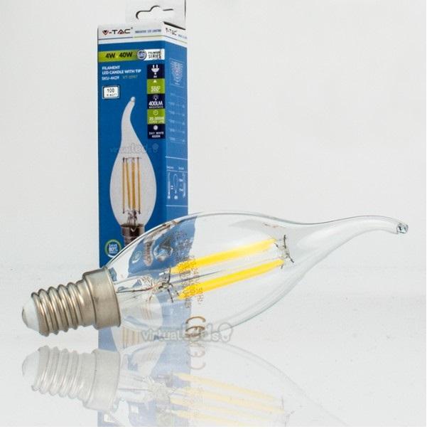 Lampada vela led e14 4w 3000k 450lm 4302 filamento