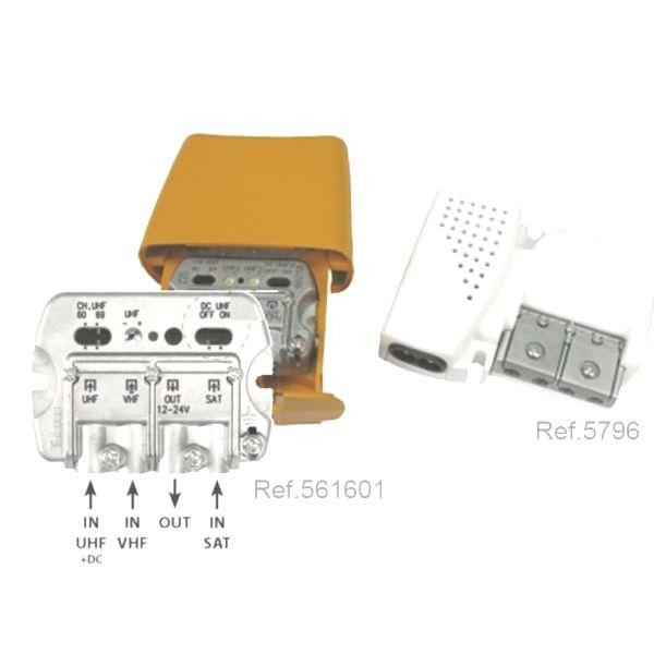 Kit amplificador mastro 3e/1s + alimentador 12v